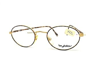 Glasses Byblos Vintage Ages 80 Man Woman Metal Oval Gold Made IN Italy