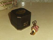 JUICY COUTURE YORKIE SCOTTIE DOG CARRIER CHARM GOLD PLATED PINK ENAMELED*BOX