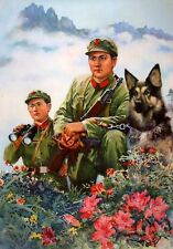 Vintage Chinese Peoples Army Soldiers With Dog Propaganda Poster Art Print A4