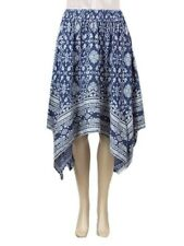 Ex Primark Ladies Skirt paisley print cotton navy Hanky Hem Summer  Size 6 to 20