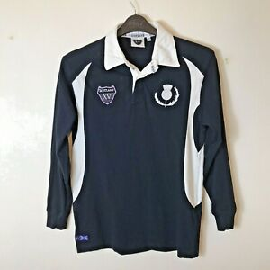 Scotland Rugby XV Shirt Jersey Top Size: XLB 100% Cotton Blue / White L/Sleeve