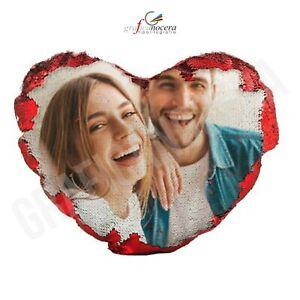Cuscino a forma di Cuore con Paillettes con foto idea regalo San Valentino
