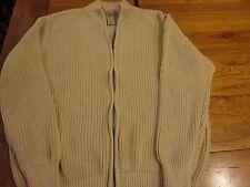 EUC  LL Bean Mens CARDIGAN Sweater EXTRA Large ZIP TAN