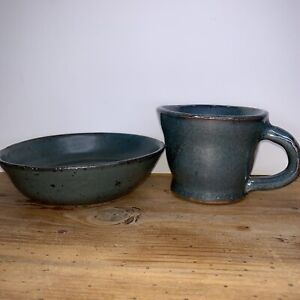 Studio Art Pottery Blue  Bowl & Cup Signed