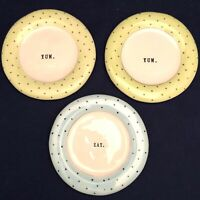 Rae Dunn Pastels Polka Dot Round Snack Plate Set of 3 Dimples 2017