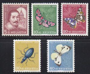 Switzerland 1956 MNH Mi 632-636 Sc B257-B261 Juventute.Butterflies.Insects **