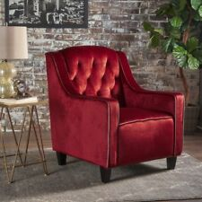 Milan Two Tone TUFTED Garnet New Velvet Club Chair ArmChair