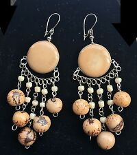 Bohocoho ECCENTRICO Lagenlook Boho Gypsy Tan/Brown & Silver tagua Dangle Earrings