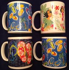 Beautiful Set Of 4 Islander Group & ABC Hawaii Coffee Mugs Tea Cups Brilliant.