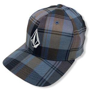 Volcom Men's Full Stone Plaid CheckFlex Fit Hat Cap - Brown/Blue (Large/X-Large)