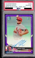 PSA 10 JORDAN HICKS 2018 Bowman Chrome PURPLE REFRACTOR AUTO 100+MPH FB GEM MINT