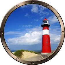 "12"" Porthole Ocean Window LIGHTHOUSE DAY #1 ROUND Wall Sticker Decal Art Graphic"