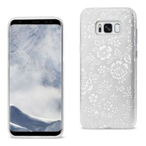 Samsung Galaxy S8+ Hybrid Case TPU Protective Cover Glitter Floral Silver 023
