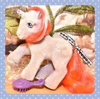 ❤️My Little Pony MLP G1 Vtg So Soft Twist Pretzel Flocked Fuzzy Unicorn❤️