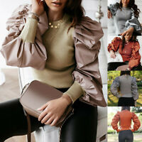 Women's Ladies Puff Sleeve Tops Pullover Sweater Blouse Slim Jumper Ribbed Shirt