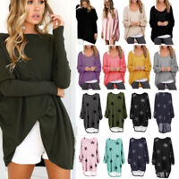 Plus Size Women's Long Sleeve Baggy Loose Tops High Low Tunic T Shirt Sweater