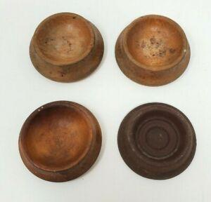 Lot of 4 Vintage Wooden Furniture Leg Cups Floor Protector Coaster