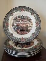 Royal Stafford Christmas Eve Fireplace Dinner Plates (Lot of 6)