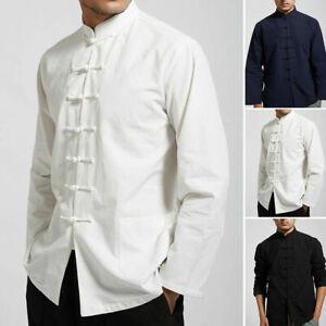 Mens Traditional Chinese Tang Suit Jacket Coat Kung Fu Tai Chi Uniform Tops Hot