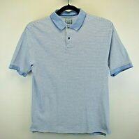 Jos. A. Bank S/S Men's Medium Golf Polo Shirt Blue White Stripe Stays Cool