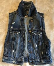 American Eagle Women's Denim Jean Vest Distressed Button Down  Size XS