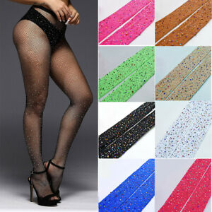 Rhinestone Fishnet Stockings Sparkle Tights for Womens Lady Hollow Out Pantyhose