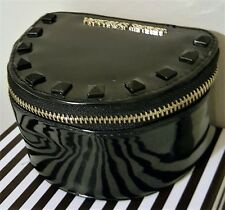 VICTORIA'S SECRET SHINY BLACK STUDDED JEWELRY MAKEUP COSMETIC BAG TRAVEL POUCH