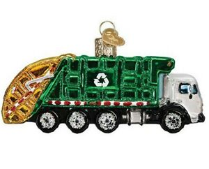 Garbage Truck Ornament Old World Christmas New Blown Glass Glitter Accents