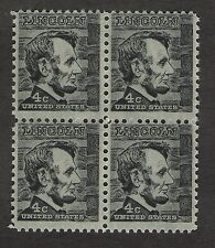 US. 1282 a. 4c. Abraham Lincoln. Tagged, Block of 4. Mint. NH. 1965