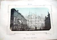 1830 LITOGRAFIA DIPINTA CON VEDUTA DI PIAZZA DEL DUOMO DI MILANO