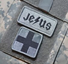 "AFSOC PJ MEDVAC PARARESCUE PARAJUMPER vel©®⚙ 2"" 2-TAB: ACU JESUS + MEDIC CROSS"