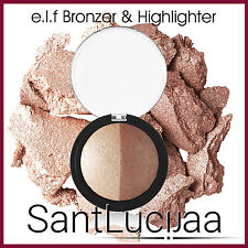 E.L.F BAKED HIGHLIGHTER BRONZER DUO GOLD SHIMMER POWDER HIGHLIGHTING COUNTOURING