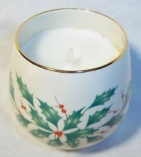 "Lenox ""Say It With Silk"" Christmas Candle And Holly Berry Holder"