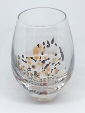 Hand Blown Glass Stemless Wine Glass. Black Orange White Spots on Bottom