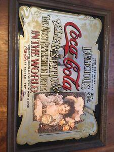 Coca Cola Mirror Advertising Sign Pub Shed Coke Vintage Sign