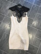 LIPSY SIZE 8 BEIGE CORSET DRESS WITH BLACK SEQUINNED LACE DETAIL & TIE BACK NECK
