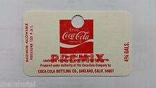 COCA COLA COKE SODA VINTAGE CARDBOARD 1970'S PREMIX COMMERCIAL SYRUP TANK TAG