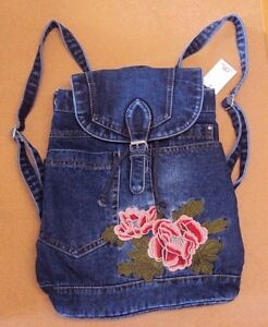 Women Stonewashed Denim Jeans Cute Embroidered Floral Big Handbags Backpack Bag