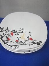 "4 Vintage Oneida Asian Blossom 10.25"" Dinner Plates  Black & Red w/ Butterflies"