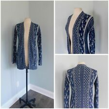LUCKY BRAND ~ Small Stitched Pattern Open Front Cardigan Blue & Cream