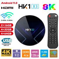 HK1 X3 Android 9.0 TV Box Amlogic 4G 128GB 2.4G+5G WiFi 4K Set Top Media Player