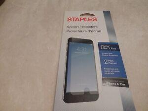 New Sealed Staples Brand iPhone 6 / 6s / 7 Plus / 8 Plus 2pk Screen Protectors