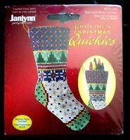 Janlynn Christmas Quickies Blue Quilt Blocks and Stars Stocking Cross Stitch Kit