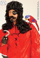 Black Captain Hook Wig Moustache & Goatee Pirate Bucaneer Muskateer Fancy Dress