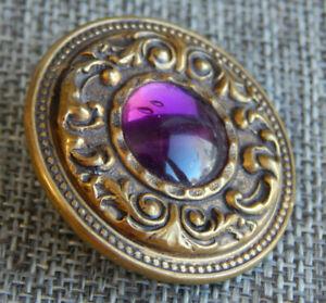 "Antique Vtg Gay 90's Button Purple Cabochon Glass Center~Aprx:1-3/8""~#1213-F"