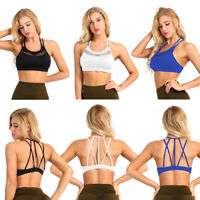 Women Sports Bra Padded Workout Yoga Crop Tank Top T Shirts Tee Vest Activewear