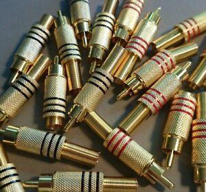 20 cinch Stecker rot schwarz vergoldet löten Lötstecker  vergoldet 7mm audio