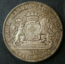 1865 B German State Free Imperial City of Bremen Shooting Festival Silver Thaler