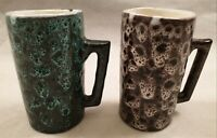Vintage West German Style Pottery Lava Glazed Mugs Tall Cylindrical 1960s 1970s