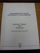 31/05/1993 Rotherham United Football Club: directores informe y cuentas para el